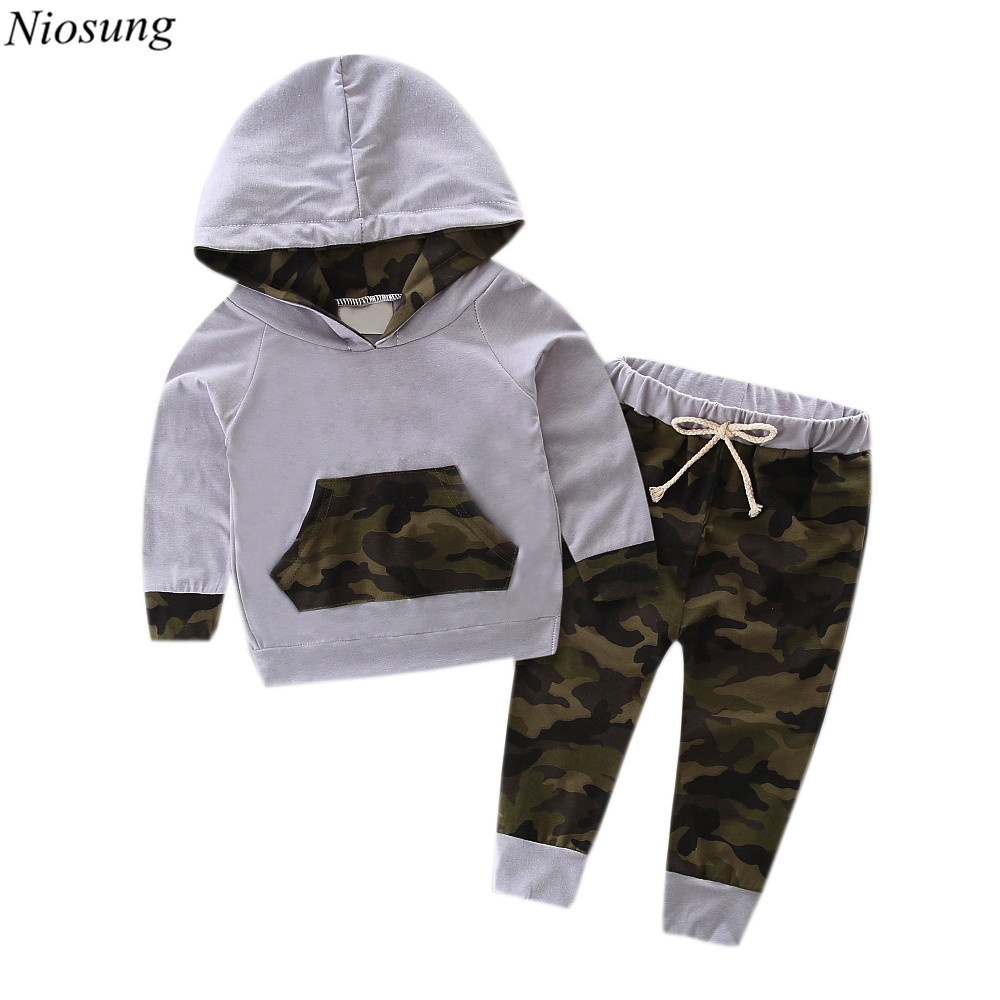 Toddler Boy 2pcs Set Clothes Hooded Tracksuit Top Pants Camouflage Kid Baby Outfits Suit wholesale