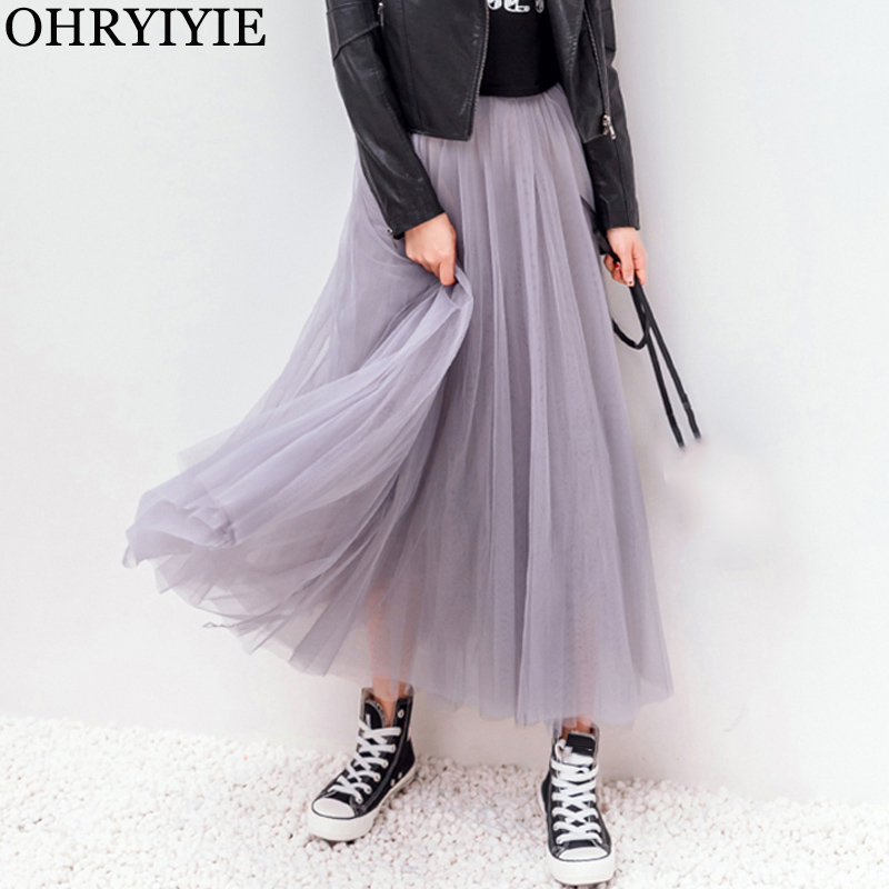 OHRYIYIE Mesh Skirt Longue Tulle Pleated Elastic Female Autumn Winter High-Waist Womens