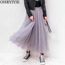 44c50c9df5a OHRYIYIE 2018 Осень Зима Винтаж юбки для женщин женские эластичные высокая  Талия Тюль сетчатая юбка длинные