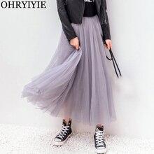 OHRYIYIE 2020 Autumn Winter Vintage Tulle Skirt Women Elastic High Waist Mesh Skirts Long Pleated Tutu Skirt Female Jupe Longue