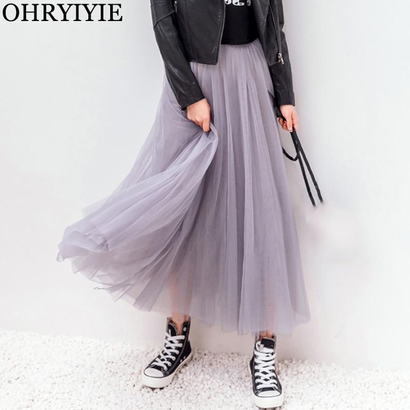 OHRYIYIE 2020 Spring Summer Vintage Skirts Womens Elastic High Waist Tulle Mesh Skirt Long Pleated Tutu Skirt Female Jupe Longue