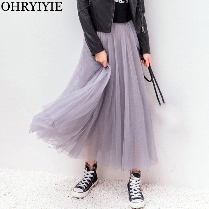 OHRYIYIE 2019 осень зима винтажные юбки женская эластичная юбка из тюля с высокой талией с длинными плиссированными юбками пачками женская Юп Longue