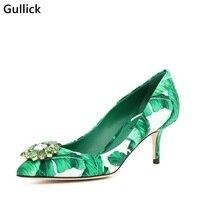 Gullick Elegant Women Slip On Crystal Flower Decoration Plantain Print Shoe Pointed Toe Gladiator Dress Pumps Big Size 43