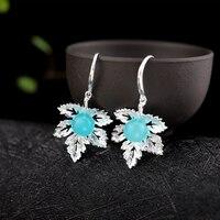 LouLeur sterling silver 925 maple leaf earrings natural blue Amazonite drop earrings jewelry earrings for women charm jewelry