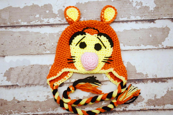Crochet Tiger Hat - Baby Tiger Hat - Newborn Photo Prop - Baby Hat - Character Tiger Hat - Tiger Halloween Costume Hat