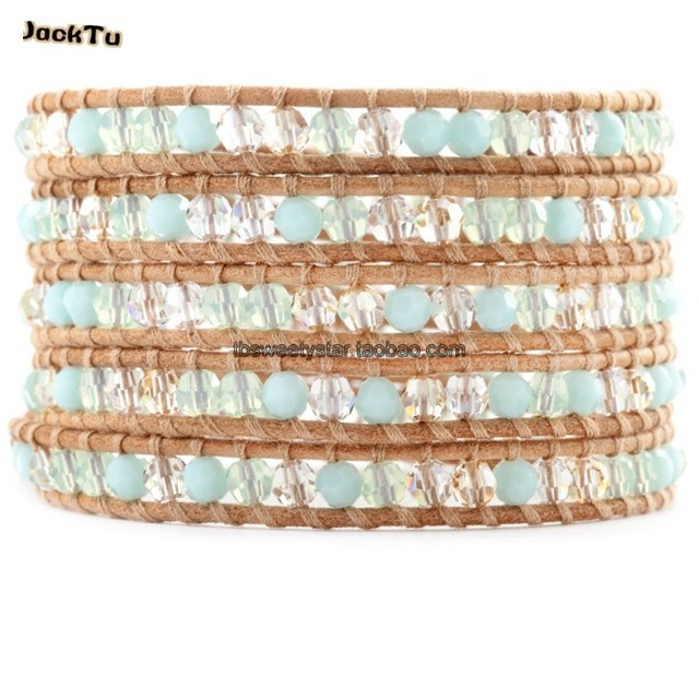 2017 amazone color crystal leather wrap bracelet women