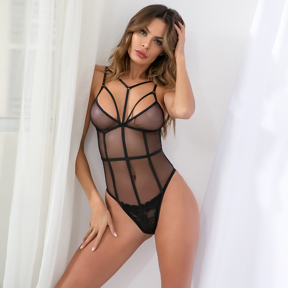 a976fbb99f deep v plunge women sexy strappy push up bodysuit mesh see trough hollow out  open back