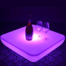 SK-LF28U(L62* W62* H21cm) PE материал светодиодный стол для кофейного бара 16 изменение цвета светящиеся пластиковые водонепроницаемые вечерние с пультом дистанционного управления