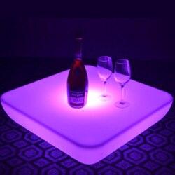 SK-LF28U (L62 * W62 * H21cm) مادة البولي ايثيلين LED طاولة بار القهوة 16 تغيير لون توهج البلاستيك مقاوم للماء للحزب مع جهاز التحكم عن بعد