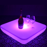 SK LF28U L62 W62 H21cm PE Material LED Coffee Bar Table 16 Color Change Glow Plastic