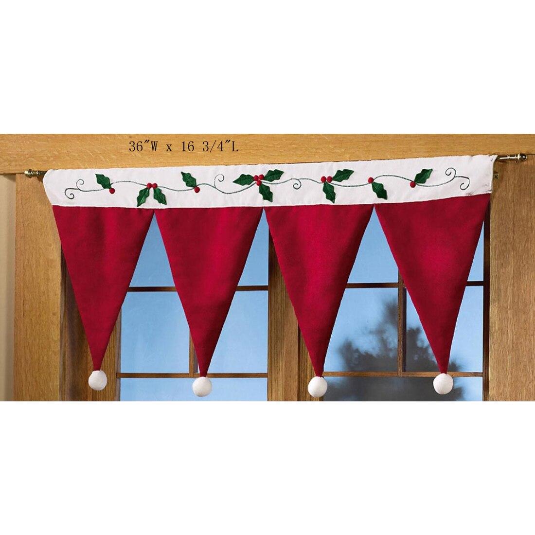 Двери окна драпировка Панель Рождество декоративные Шторы дома украшения на Рождество вечерние Новый год Санта Клаус шляпа Кепки Подзор