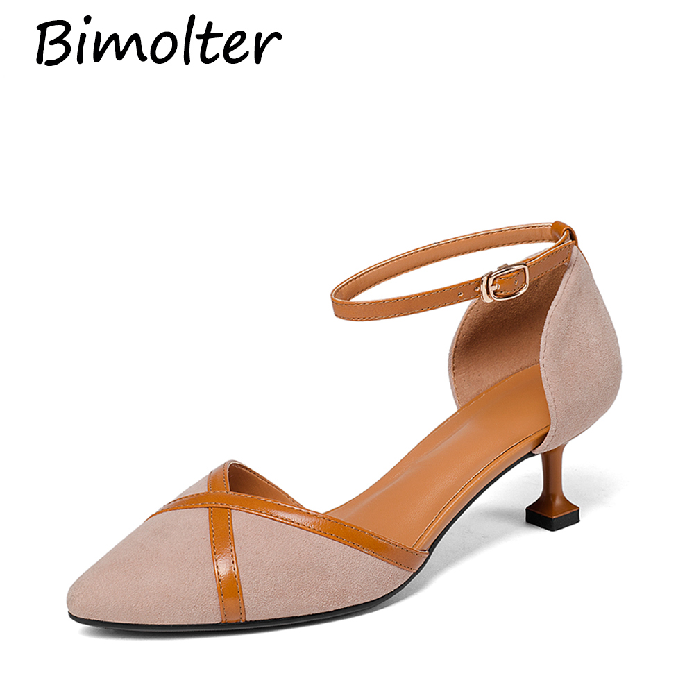 Bimolte Girls 39 Kid Suede Leather Pumps Strange Style Heels Female Buckle Ankle Wrap Summer Princess Elegant Women Shoes LXEB007 in Women 39 s Pumps from Shoes