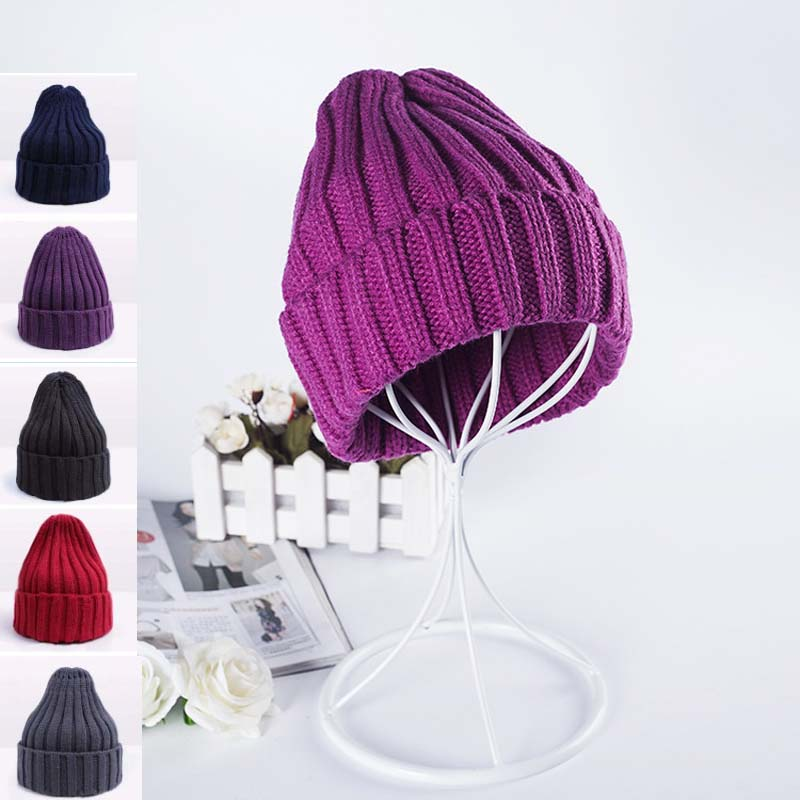 2017 Solid Adult Casual Cotton Acrylic Rushed New Fashion Female Winter Hats Plain Knitted Hat For Women Beanie Skullie Cap Warm 2016 organic rushed real tights knitted solid organic spandex winter pregnant women trousers bamboo charcoal fiber warm