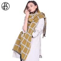 FS Soft Acryli Scarf Women Winter Warm Luxury Brand Tassel Tartan Plaid Long Head Scarves Shawls