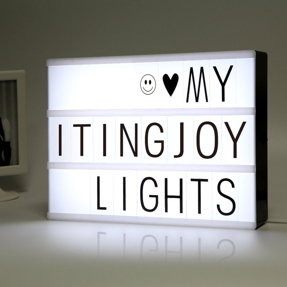 New USB LED Combination LED Night Light Cinematic Lightbox Light Lamp Box 5V Battery USB Powered Home Decor W/72 Letter Symbol ...