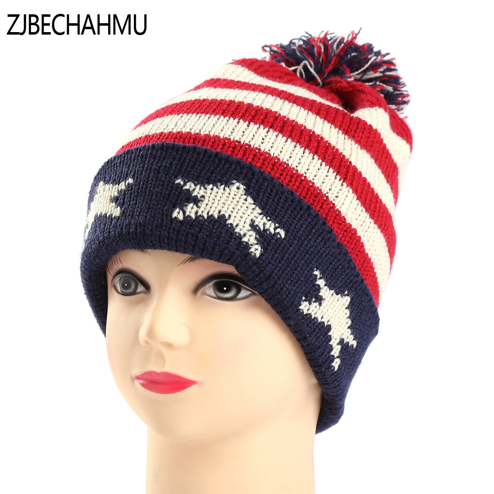 Fashion Girl 'S Skullies Beanies Winter Hats For Women Knitting Cap Hat Pompoms Ball Warm Brand Casual Gorros Thick Spint Caps the new children s cubs hat qiu dong with cartoon animals knitting wool cap and pile