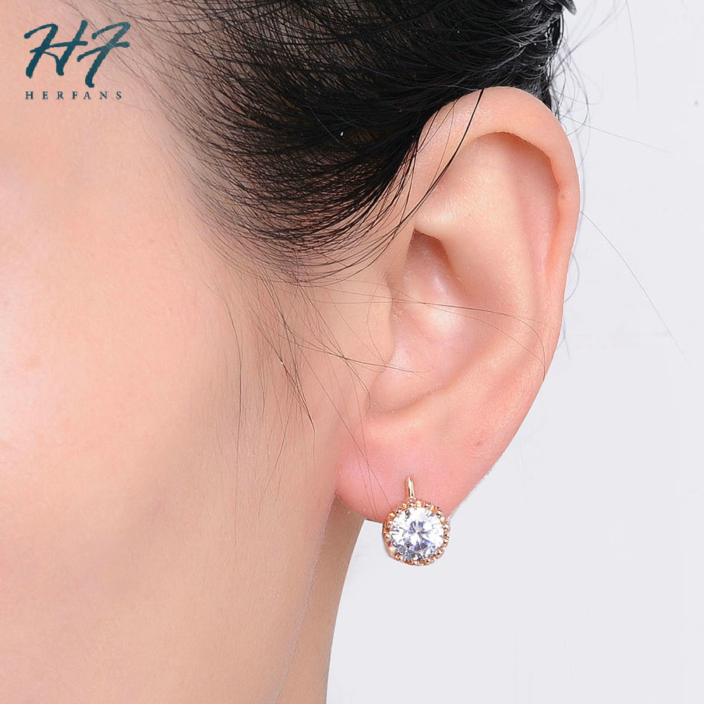 Crown Austrian Crystal Wedding Stud Earrings Rose Gold Color Fashion Brand Vintage CZ Crystal Jewelry For Women E610 E611