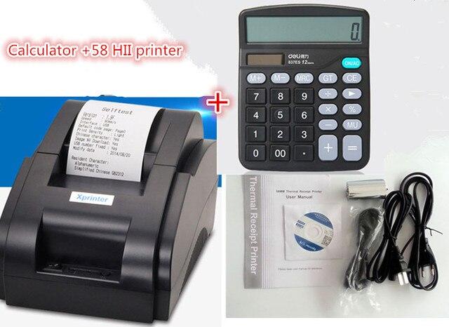 Калькулятор + pos принтер черно-белый Оптовая Высокое качество 58 мм тепловая чековый принтер машина USB интерфейс