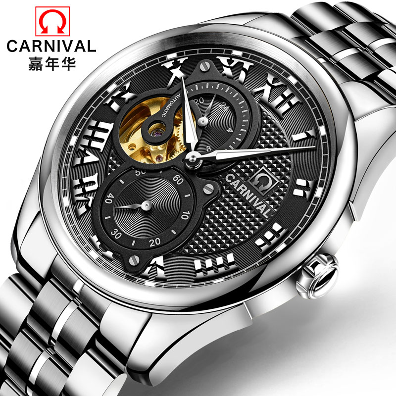 CARNIVAL Luxury Mens Watches Top Brand Tourbillon Automatic Watch Men 24 hours Luminous Waterproof Business Mechanical watches корпус corsair carbide series clear 400c white cc 9011095 ww