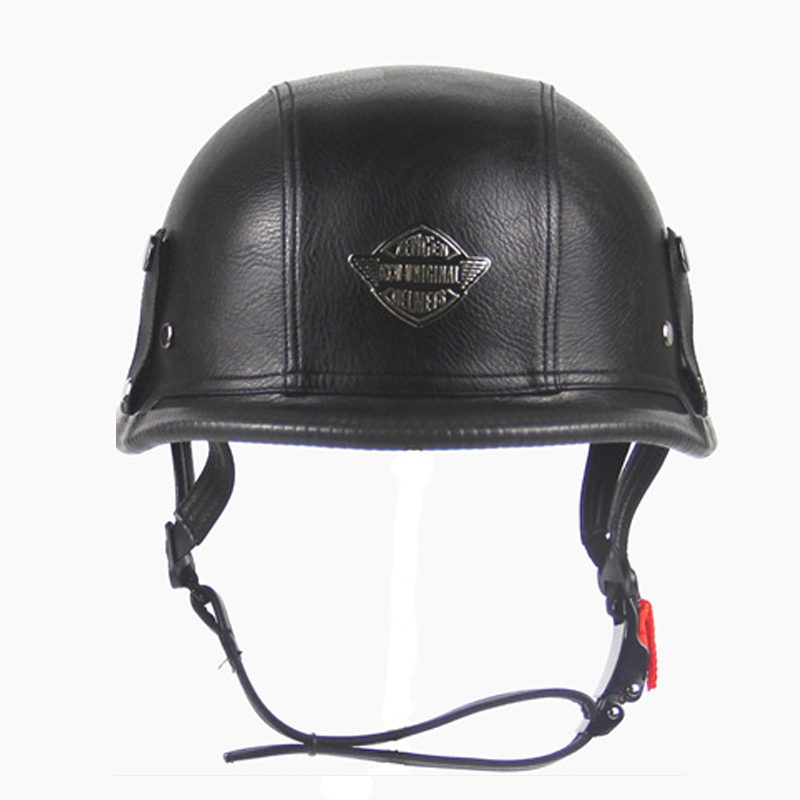 Mens Motorcycle Leather half helmet Tactical Leather Helmets open face Moto Casco retro Military scooter casque for Harley moto