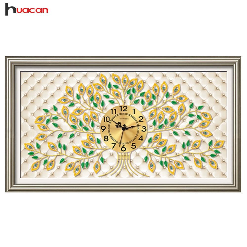 Huacan diamant peinture point de croix horloge forme spéciale diamant broderie arbre mosaïque strass décoration murale cadeau bricolage