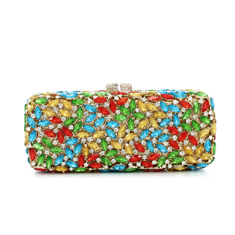 popular luxury evening bags Sparkly Crystal women Clutch bags Colorful Clear rhinestone Ladies dinner bags Clutches purse evening bags crystal womem s clutches rhinestone luxury dinner symphony full diamond packet length fashion female 2017 new bag