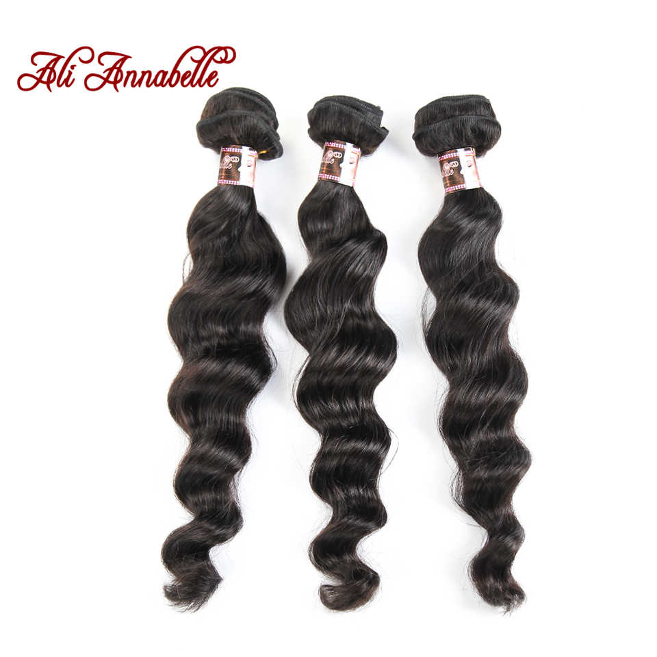 ALI ANNABELLE Peruvian Loose Wave 3 Bundles With Closure 4Pc Deals Remy Hair Extensions Human Hair Bundles With Closure