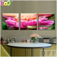 3D Pink Flower Diy Diamond Embroidery Painting Square Rhinestone Cross Stitch Triptych Home Decor Kits Diamond