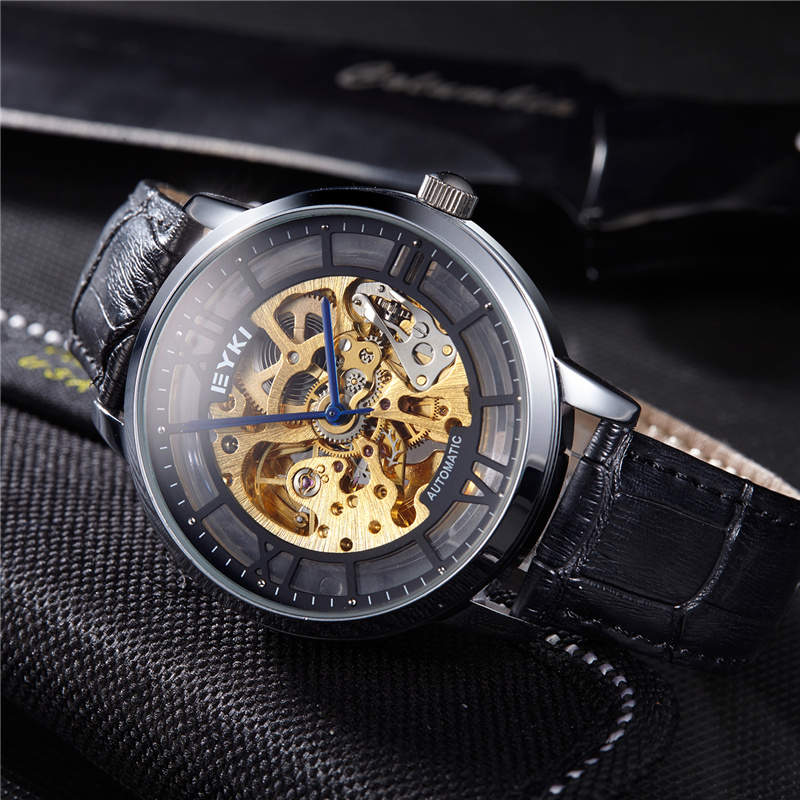 EYKI Fashion Hollow Dial Mens Watch 2018 Luxury Leather Roman Numeral Analog Wristwatch Automatic Mechanical relogio masculino cjiaba gd102 roman numeral dial mechanical analog watch w simple calendar second chronograph