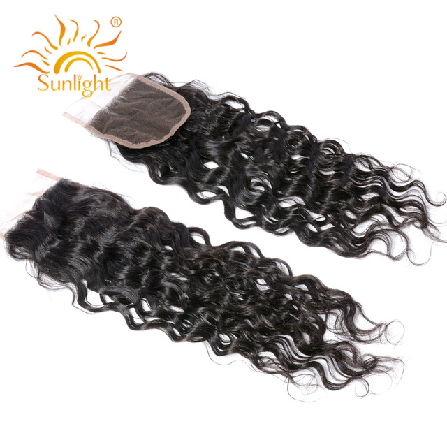 Sunlight Human Hair Brazilian Water Wave 4×4 Top Lace Closure Free Style Match Hair Bundles 100% Remy Human Hair Free Shipping