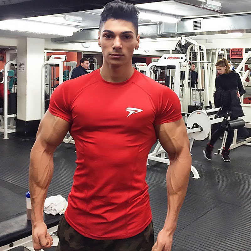 2019 Gym Shirt Sport T Shirt Pria Penjaga Ruam Cepat Kering Fit T-shirt Lari Pria Kebugaran Tshirt Elastis Olahraga Basket Tshirt