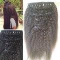 Rizado grueso recto rizado italiano yaki brasileño de la virgen del pelo humano clip en extensiones de cabello 6 unidades por juego