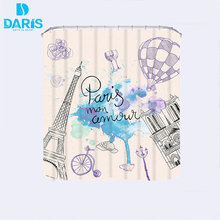 DARIS Waterproof Fabric Eiffel Tower Shower Curtain Bathroom Products Shower Curtains With 12pcs Shower Curtain Hooks carton