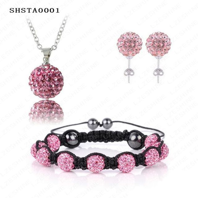 Christmas Big Sale Shamballa Set AB Clay Disco Ball Shamballa Bracelet/Earring/Necklace Pendant Jewelry Set  SHSTAmix1