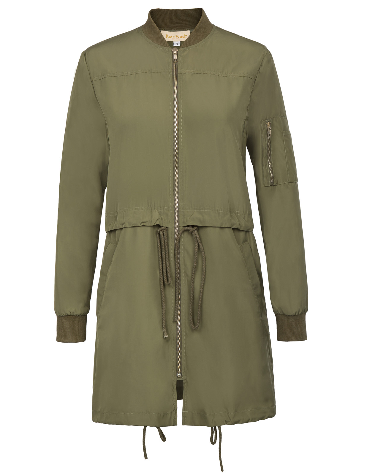 Kate Kasin Women   Basic     Jacket   Stand Collar Drawstring Utility   Jacket   Zip-Up Hooded Military Bomber   Jacket   Coat with Pocket