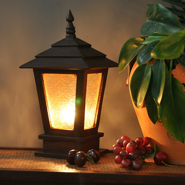 Southeast Asian Style Wood Glass Patio Garden Fence Lamp Post Lights,  Outdoor Lights 104018 Trumpet