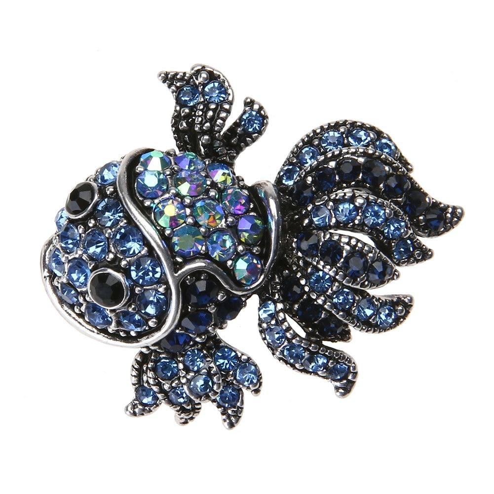 Fashion Vintage Cute Blue Crystal Fish Brooches Pin Women Men s Animal Shinny Goldfish Brooch for