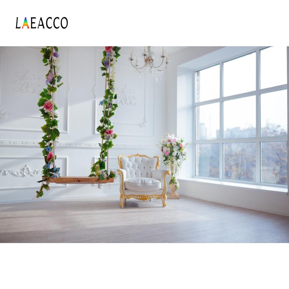Laeacco foto backdrops cinza chique parede balanço poltrona do bebê janela francesa sala interior foto fundos photocall photo studio