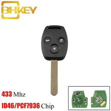 цена на BHKEY 3Buttons Remote Car Key Fob 433Mhz For Honda Cr-V Civic Insight Ridgeline 2003 2008 2009 Accord With ID46/PCF7936 Chip