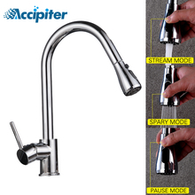 Chrome Kitchen Faucets hot and cold Single Handle Pull Out faucet for Kitchen 360 Degree Swivel mixer Water 3 ways water Tap