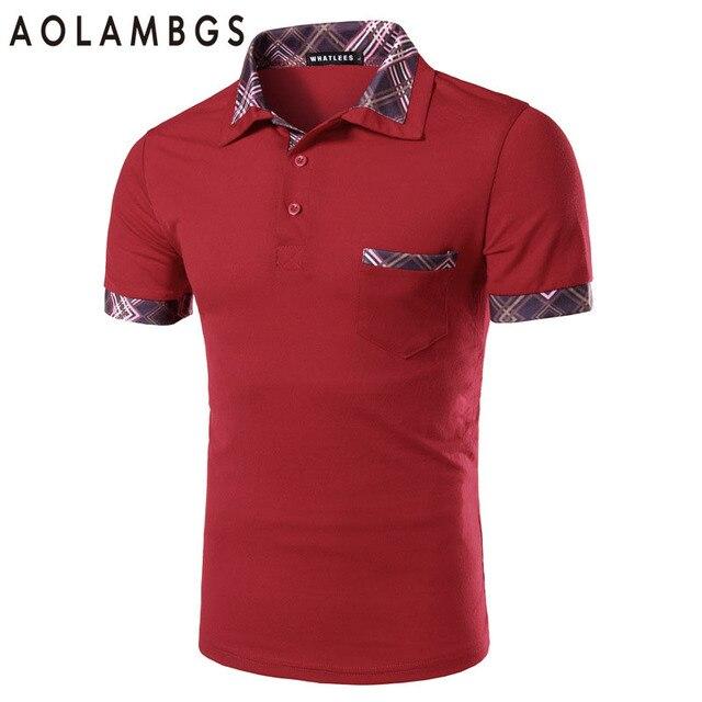 Cuello de Polo de los hombres Camisa de Tela Escocesa de la Moda Para Hombre de Negocios Polo 2016 Camisa Casual Polos de Manga Corta de Algodón de Alta Calidad Rojo M-2XL