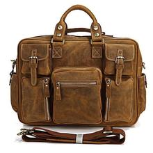 Free Shipping Crazy Horse Leather Laptop Bag Men's Bag Briefcase Men Genuine Leather # 7028B