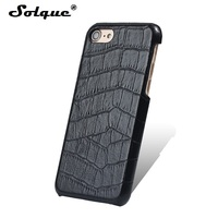 Solque Real Genuine Leather Slim Case For IPhone 7 Plus 3D Crocodile Case Luxury Ultra Thin