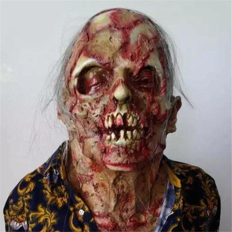Halloween Adulte Masque Zombie Masque Latex Sanglante Effrayant Extrêmement Dégoûtant Plein Visage Masque Costume Party Cosplay Prop