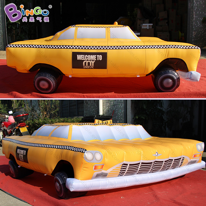 Beautiful Personalized 2x2 Meters Inflatable Taxi Digital Printing Yellow Taxi Inflatables For Decoration Toys