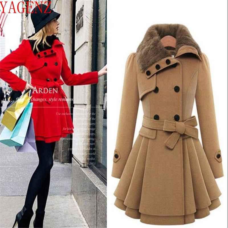 Jesień zima kobieta nowy wełniany płaszcz kobiet kurtki z futrzanym kołnierzem Slim damskie płaszcze z długim rękawem kobiet imitacja kaszmirowy płaszcz 1331