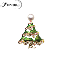 Freshwater-Pearl-Brooch Christmas-Tree-Brooch Natural Women Real for Fashion Party-Gift