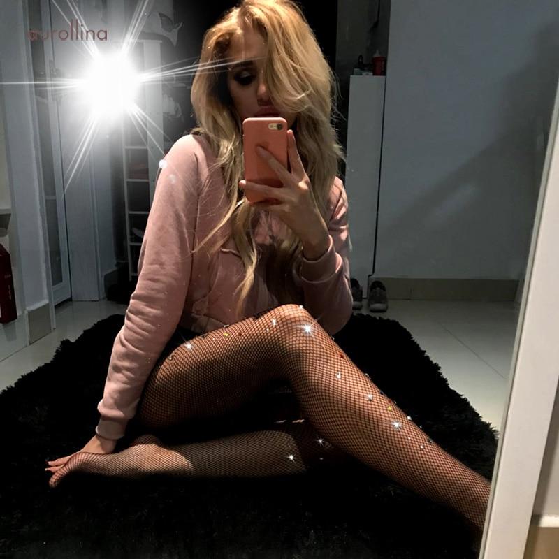 Bling Rhinestone Glitter Womens Slim Tight Stockings W42 (1)