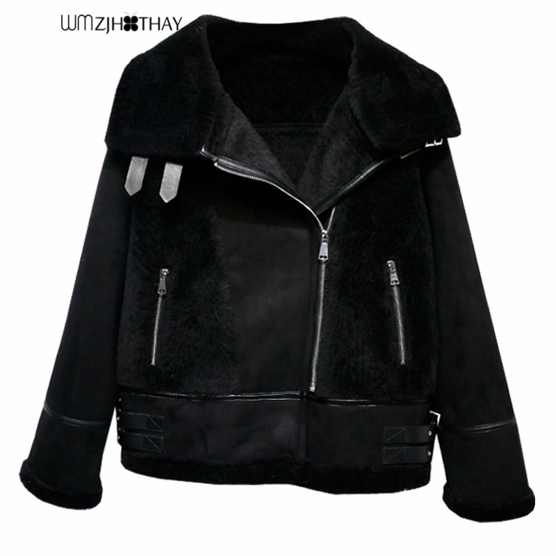 Korean Winter Thicken Faux   Leather   Coats And Jackets Women   Suede   Plush Outwear Warm Locomotive Jackets Fur Lining   Leather   Coats