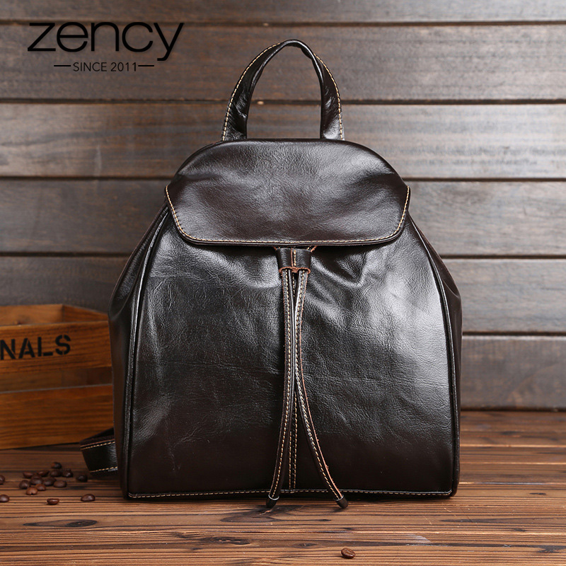 Zency 100% Genuine Leather Women Men Backpack Vintage Travel Bag Unisex Holiday Daily Knapsack Preppy Style Schoolbag Satchels